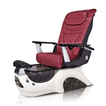 Noemi-BLACK Pedicure Chair | T-Timeless Massage Chair | Burgundy Pad-Set