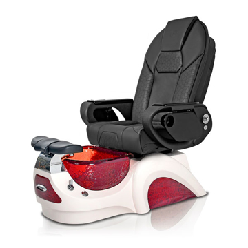 Noemi-RED Pedicure Chair | Throne Massage Chair | Black Pad-Set