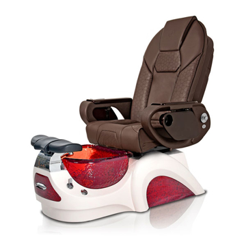 Noemi-RED Pedicure Chair | Throne Massage Chair | Chocolate Pad-Set