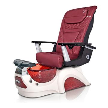 Noemi-RED Pedicure Chair | T-Tmeless Massage Chair | Burgundy Pad-Set